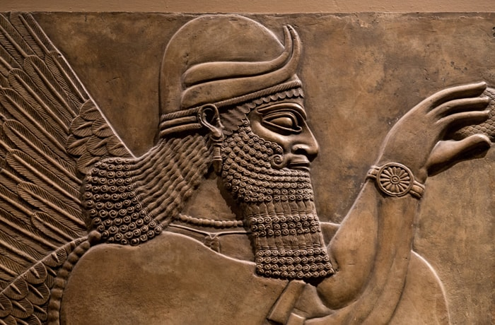 An old Assyrian god in an artifact from back when money was standardized.