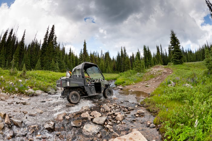 An ANSI/OPEI B71.9 multipurpose off-highway utility vehicle crossing a forest creek.