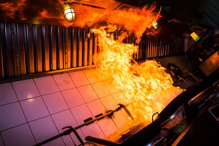 Fire in a restaurant kitchen