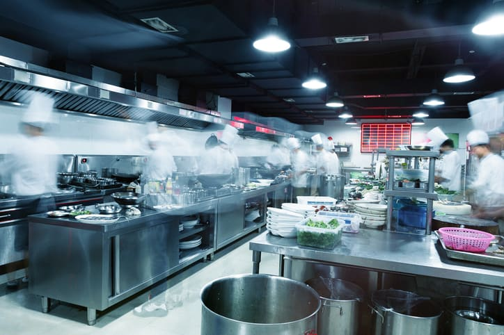 Restaurant kitchen with gas equipment that follows ANSI Z83-2016/CSA 1.8-2016