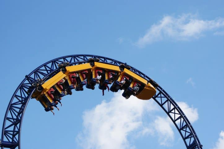 Roller coaster twisting patrons in yellow cars in the sky that was designed by following ASTM F2291-20.