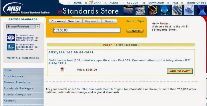 Screenshot of ANSI webstore