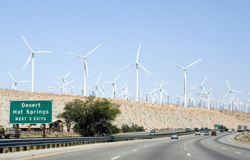 Highway wind turbines