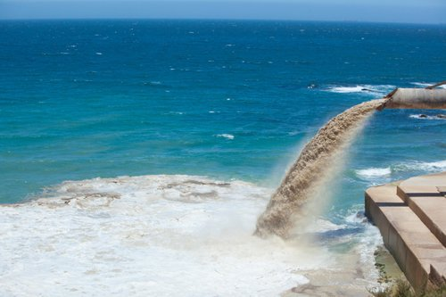 Dirty water being dumped into the ocean