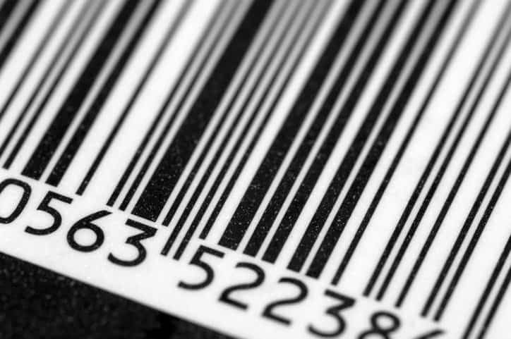 Closeup of a regular product barcode, readable from INCITS 182-1990 print quality instructions.
