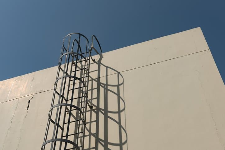 A fixed ladder with a cage outside of a building designed to ANSI ASC A14.3
