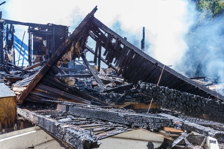 Home burned down and left in ashes without IFC 2021 fire code guidance.