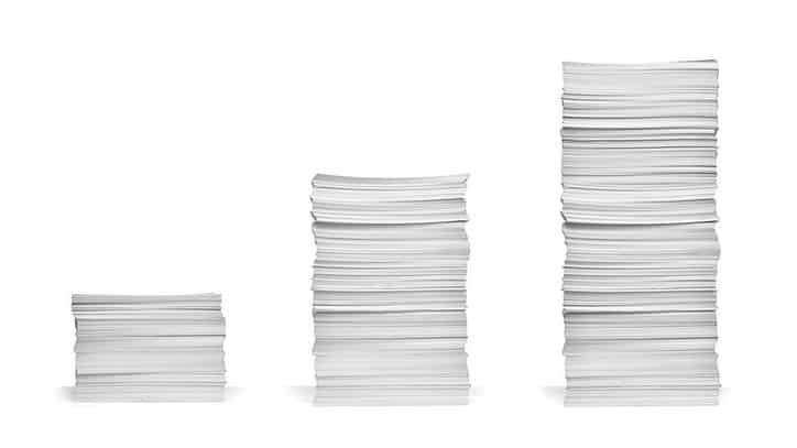 Stacks of paper that conform to ANSI A ISO A4