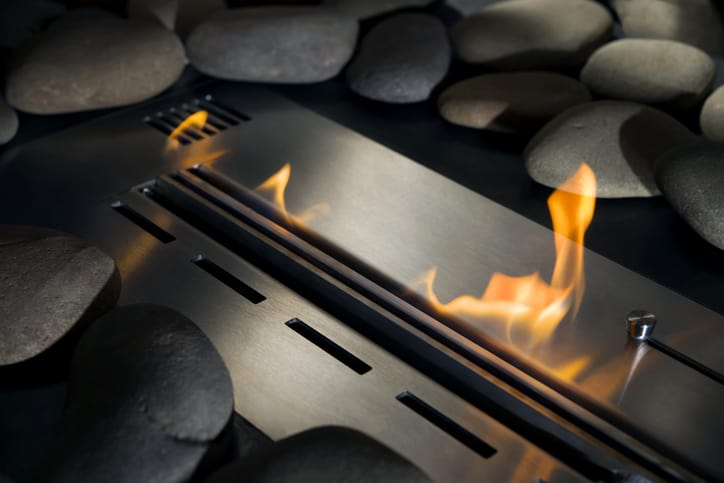 A fire begins in an ANSI Z21.88-2017 gas fireplace