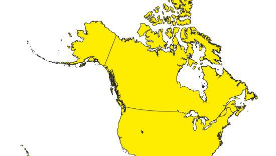 Yellow US and Canada on map representing the harmonized standards by ANSI, CSA, IAMPO, and ASME.