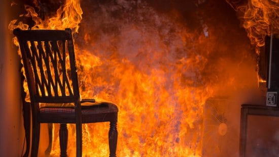 A chair on fire where a water mist fire prevention system that's specified by NFPA 750 2019 would come in handy
