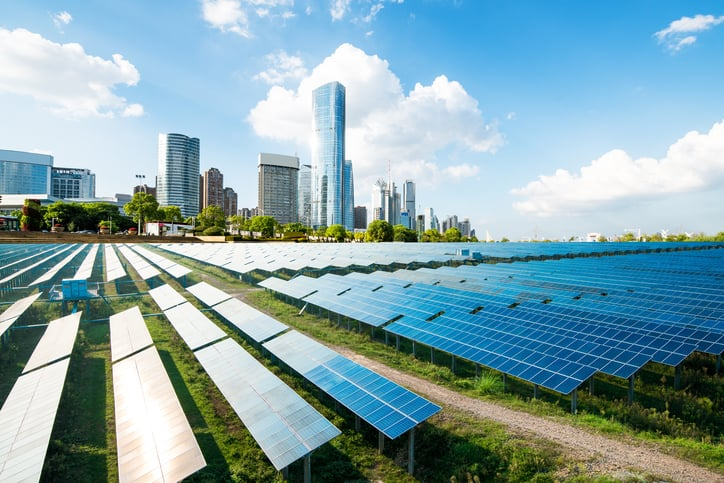 Field of solar panels that is managed by follow ISO 50001 2018
