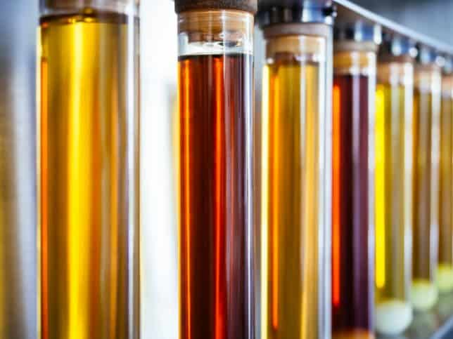 Biodiesel in different colors that may become flammable at flash point
