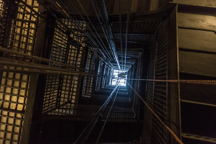 Birds eye view of ASME A17.6-2017 elevator suspension, compensation, governor systems in repair.
