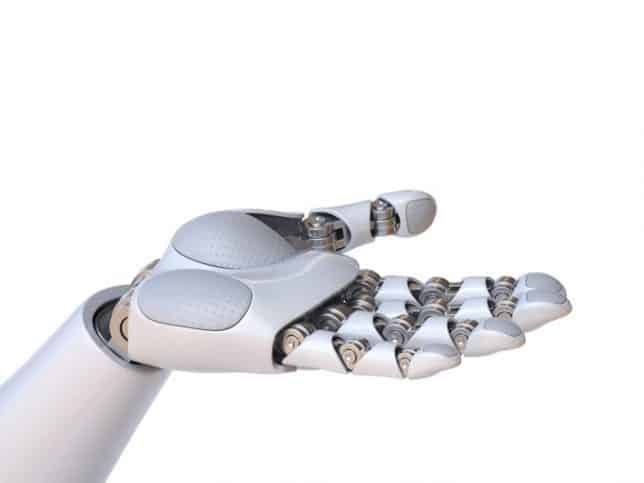 An industrial robot holds out its white robo-hand.