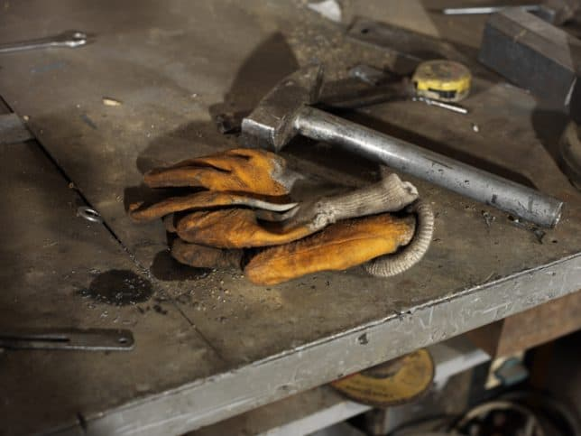 ANSI/ISEA 138-2019 impact resistant gloves laying on table