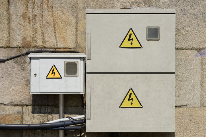 An electrical equipment enclosure marked with caution symbol with NEMA rating via ANSI/NEMA 250-2020.