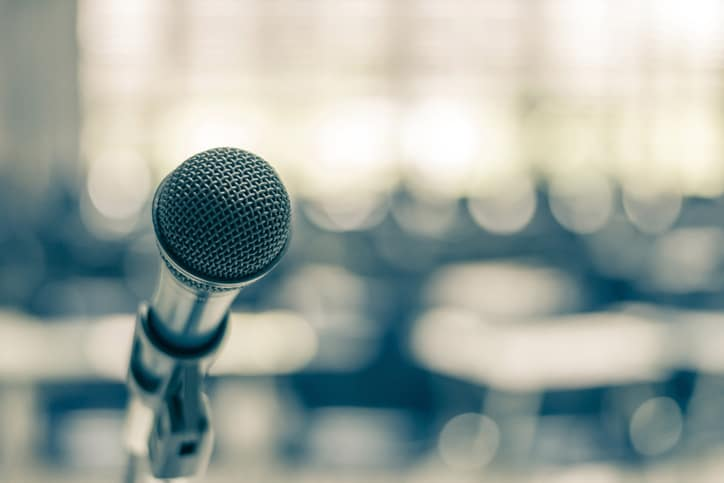 A microphone prepared for an exhilarating talk at the ANSI Company Member Forum (CMF).