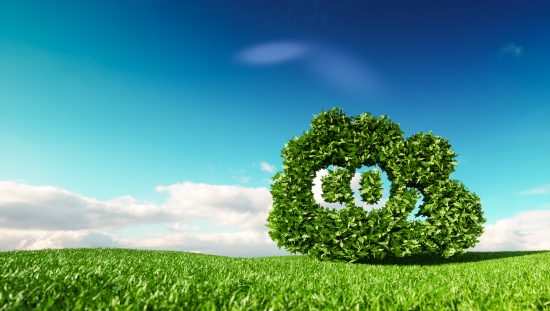 Carbon dioxide emissions control concept. 3d rendering of co2 cloud on fresh spring meadow with blue sky in background.. Greenhouse Gases, co2, harmful emissions