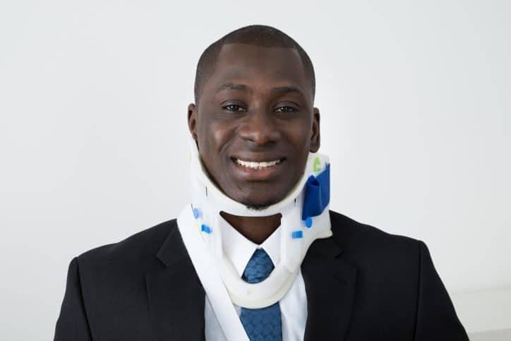 Man wearing neckbrace