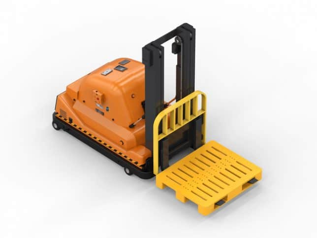 Automated guided industrial forklift rendering