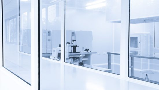 Laboratory cleanroom empty while transitioning to the new ISO/IEC 17025:2017 standard.