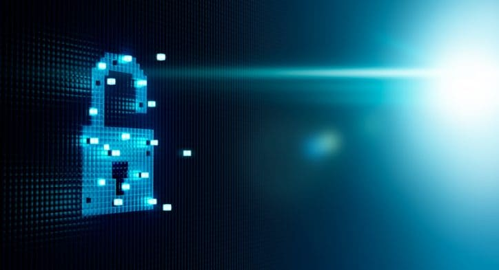 A blue lock pixelated graphic representing ISO/IEC 27701:2019 for Privacy Information Management (PII).