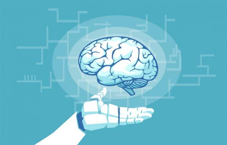 A robot hand hovering a human brain shows us how to competently manage and develop people with ISO 10015:2019.