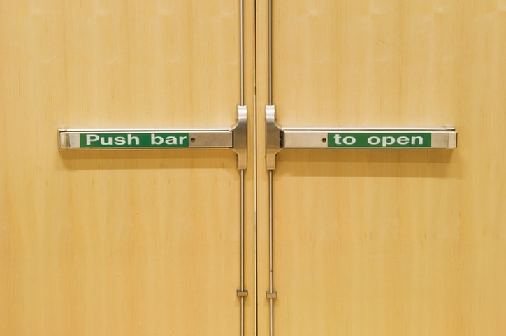 Green, labeled ANSI/BHMA A156.19-2019 Power Assist And Low Energy Power Operated Swinging Doors.