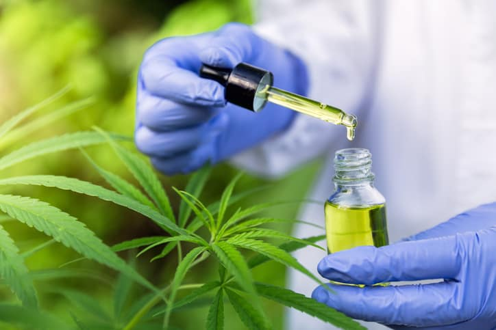 CBD Oil dripping into vial safely due to ANAB ISO/IEC 17025 accreditation for cannabis laboratories.