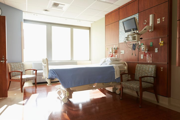 Hospital room with ANSI/ASHRAE/ASHE 170-2017 ventilation
