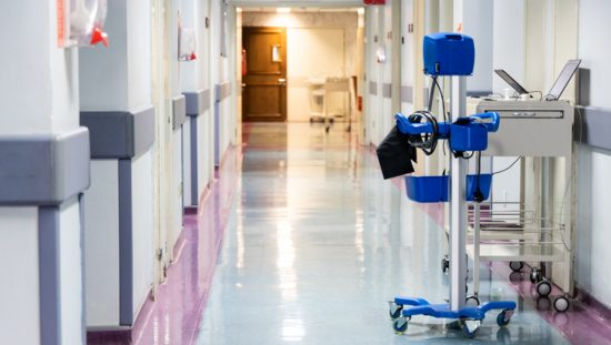 Blue medical device in hallway biologically evaluated to ISO 10993 risk management.