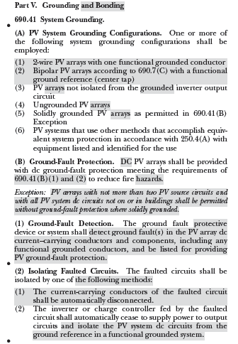 Changed section on grounding and bonding for PV arrays in the 2017 National Electrical Code (NEC), or NFPA 70