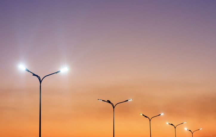 LED streetlights under sunset are depleted and need to be tested and measured to ANSI/IES LM-80-20