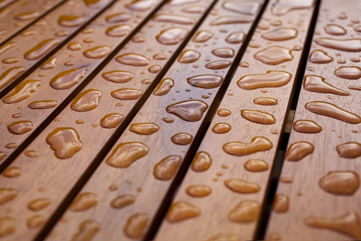 Water droplets on wood tested for transmission with ASTM E96