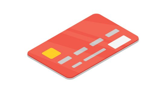 Red credit card on white background with numbers following ISO/IEC 7812-2017 for identification card issuers.