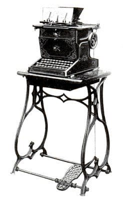 Sholes & Glidden Typewriter in black and white, the first mass-produced typewriter setting the standardization of keyboard layouts.