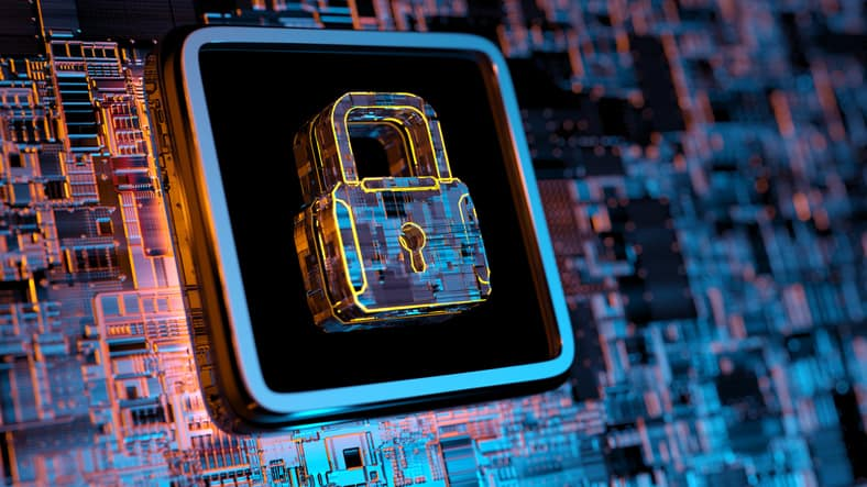 Square around digital lock showing Cybersecurity Maturity Model Certification accreditation body (CMMC-AB) importance.