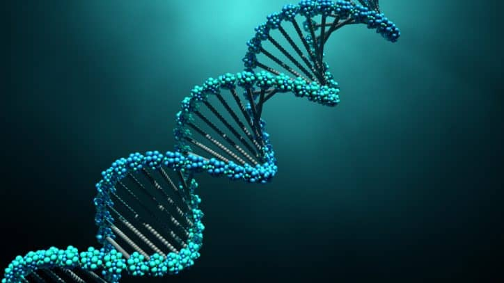 Blue DNA molecule graphic representing multiplex assays developed through CLSI MM17.