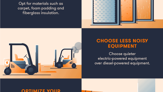 8 ways to reduce noise pollution in construction sites - eliminate noise, add barriers, use sound absorbing materials, etc.