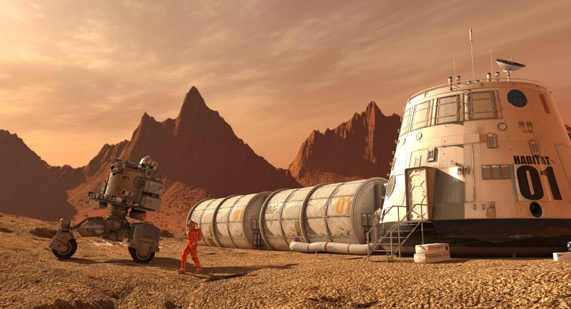 A speculative Mars civilization, on which a man in an orange spacesuit and his rover make use of 3D printing.