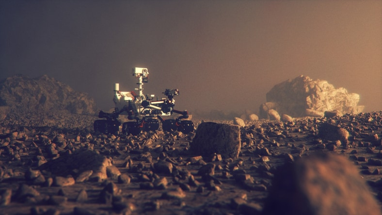 Mars rover moving through the red planet, a model of which anyone can print at home.