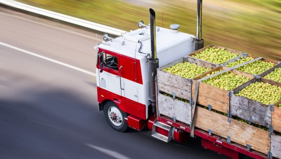 Red old fashioned semi truck lugging pears across the United States thanks to ANAB food safety credentialing accreditation.