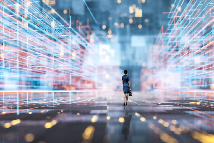 Woman walking through VR city representing digital transcripts preserved as Learning and Employment Records (LERs).